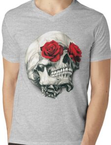 Rose Eye Skull Mens V-Neck T-Shirt