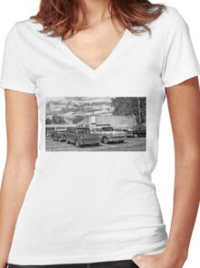Old cars at the garage Women's Fitted V-Neck T-Shirt