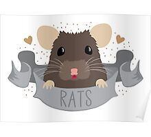 RATS with cute rat on a banner Poster