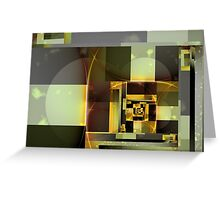 City Abstract - Orange Green Greeting Card
