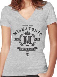 Miskatonic University Crest Women's Fitted V-Neck T-Shirt