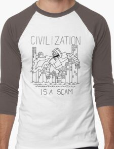 Civilization is a Scam (with robot) Men's Baseball ¾ T-Shirt