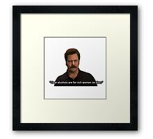 Ron Swanson- Clear Alcohols  Framed Print
