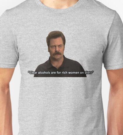 Ron Swanson- Clear Alcohols  Unisex T-Shirt