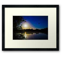 Sun Going Down Over UEA Lake, Norwich, England Framed Print