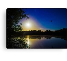Sun Going Down Over UEA Lake, Norwich, England Canvas Print