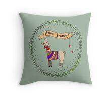 Llama Drama, Benn and Cherry Illustration Throw Pillow