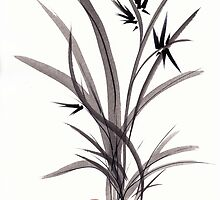 TRUST IN JOY - Original Sumie Ink Wash Zen Bamboo Painting by Rebecca Rees