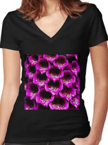Close-up Foxgloves Women's Fitted V-Neck T-Shirt
