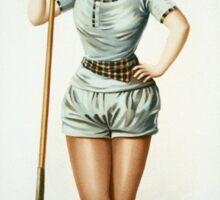 Vintage Female Rower with Oar Sticker