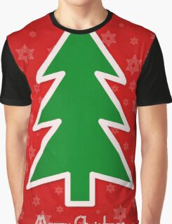 Merry Christmas Tree With Snowflake Background Graphic T-Shirt
