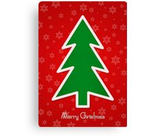 Merry Christmas Tree With Snowflake Background Canvas Print