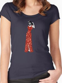 red vintage burlesque pin up Women's Fitted Scoop T-Shirt