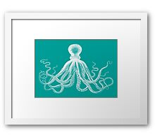 Octopus | Teal and White Framed Print