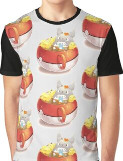 Totoro Neighbor Bath in a Pokeball Cup Graphic T-Shirt
