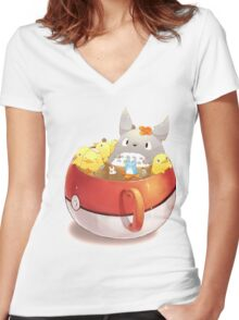 Totoro Neighbor Bath in a Pokeball Cup Women's Fitted V-Neck T-Shirt