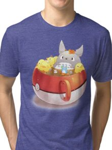 Totoro Neighbor Bath in a Pokeball Cup Tri-blend T-Shirt