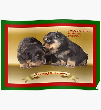 Vector Rottweiler Puppy Christmas Wishes  Poster