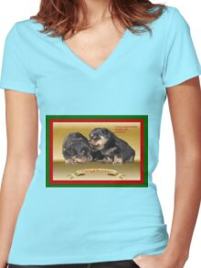 Vector Rottweiler Puppy Christmas Wishes  Women's Fitted V-Neck T-Shirt