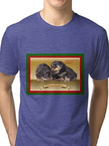 Vector Rottweiler Puppy Christmas Wishes  Tri-blend T-Shirt