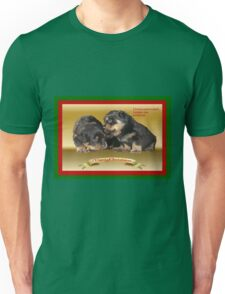 Vector Rottweiler Puppy Christmas Wishes  Unisex T-Shirt