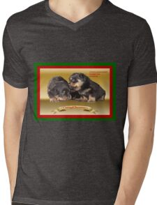 Vector Rottweiler Puppy Christmas Wishes  Mens V-Neck T-Shirt