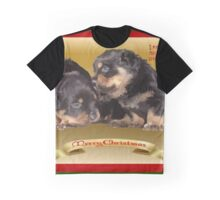 Vector Rottweiler Puppy Christmas Wishes  Graphic T-Shirt