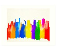 Colorful Birmingham Alabama Skyline Art Art Print
