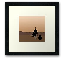 Rey and BB-8 Silhouette  Framed Print