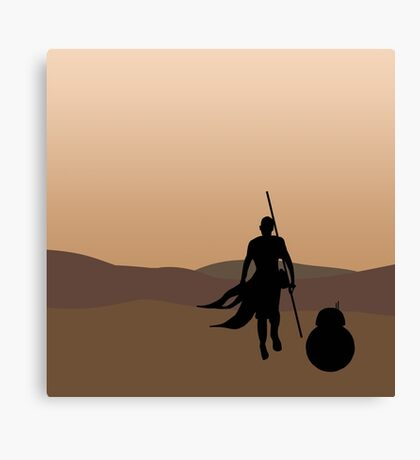 Rey and BB-8 Silhouette  Canvas Print