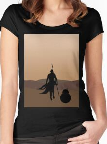 Rey and BB-8 Silhouette  Women's Fitted Scoop T-Shirt