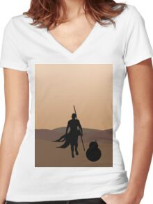 Rey and BB-8 Silhouette  Women's Fitted V-Neck T-Shirt