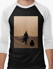 Rey and BB-8 Silhouette  Men's Baseball ¾ T-Shirt