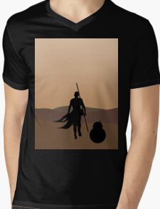 Rey and BB-8 Silhouette  Mens V-Neck T-Shirt