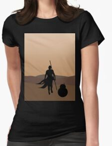 Rey and BB-8 Silhouette  Womens Fitted T-Shirt