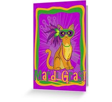 Mardi Gras Cat Greeting Card