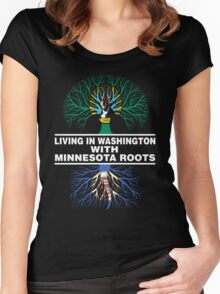 LIVING IN WASHINGTON WITH MINNESOTA ROOTS Women's Fitted Scoop T-Shirt