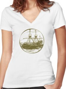The Golden Age Of Seafarers Women's Fitted V-Neck T-Shirt