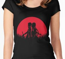 Kirito Asuna Red Moon Women's Fitted Scoop T-Shirt