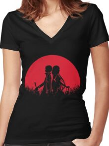 Kirito Asuna Red Moon Women's Fitted V-Neck T-Shirt