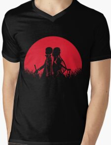 Kirito Asuna Red Moon Mens V-Neck T-Shirt