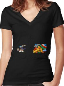 Yuan x Exactly 53 Legos Women's Fitted V-Neck T-Shirt