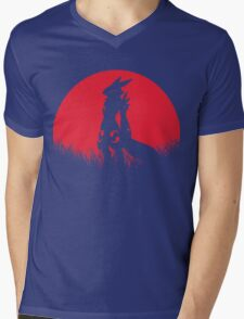 RENAMON RED MOON Mens V-Neck T-Shirt