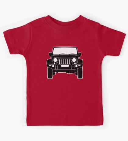 'Full Front Steel Bull Bar' Sticker / Decal Design for Jeep Wrangler Fans - Black Outline Kids Tee