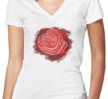 Red Splattered Rose Women's Fitted V-Neck T-Shirt