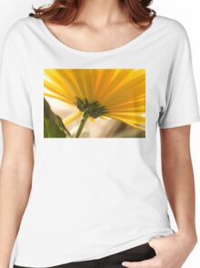 yellow chrysanthemum on a long stem with green leaves Women's Relaxed Fit T-Shirt