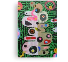 Large Shapes On Green Chaos Canvas Print