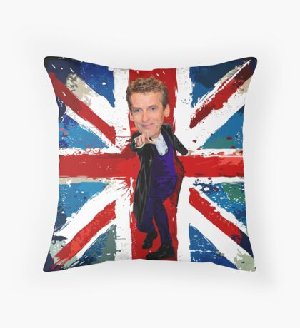 12th Doctor Egg Head Caricature Throw Pillow