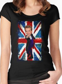 12th Doctor Egg Head Caricature Women's Fitted Scoop T-Shirt