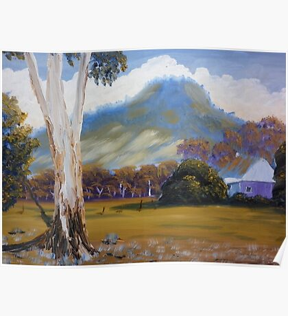 Farm with Large Gum Tree Poster
